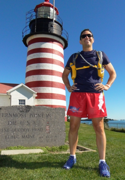 DEPARTING West Quoddy Light and bound for Florida is Al DeCesaris. He is drawing awareness to Sturge-Weber syndrome which afflicts his niece (photo courtesy of Chess Crowe Gartmayer).