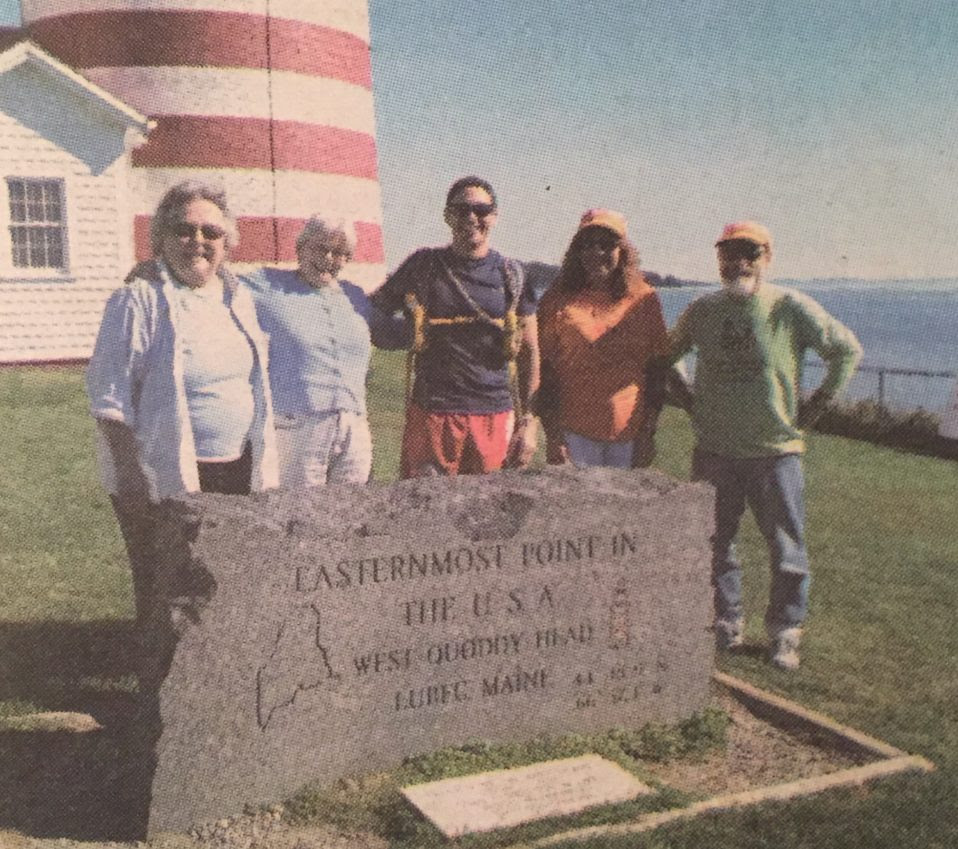Al DeCesaris, embarking on his 2,000 mile solo charity run from Lubec to Key Largo, FL. From left, Bay of Fundy Marathon Co-Chair Rachel Rubeor, Maine Rep. Katherine Cassidy, Al DeCesaris, Lubec Selectmen Chair Carol Dennison, and Marathon Director John Hough.